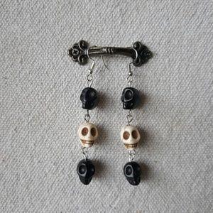 Sugar skull drop earrings